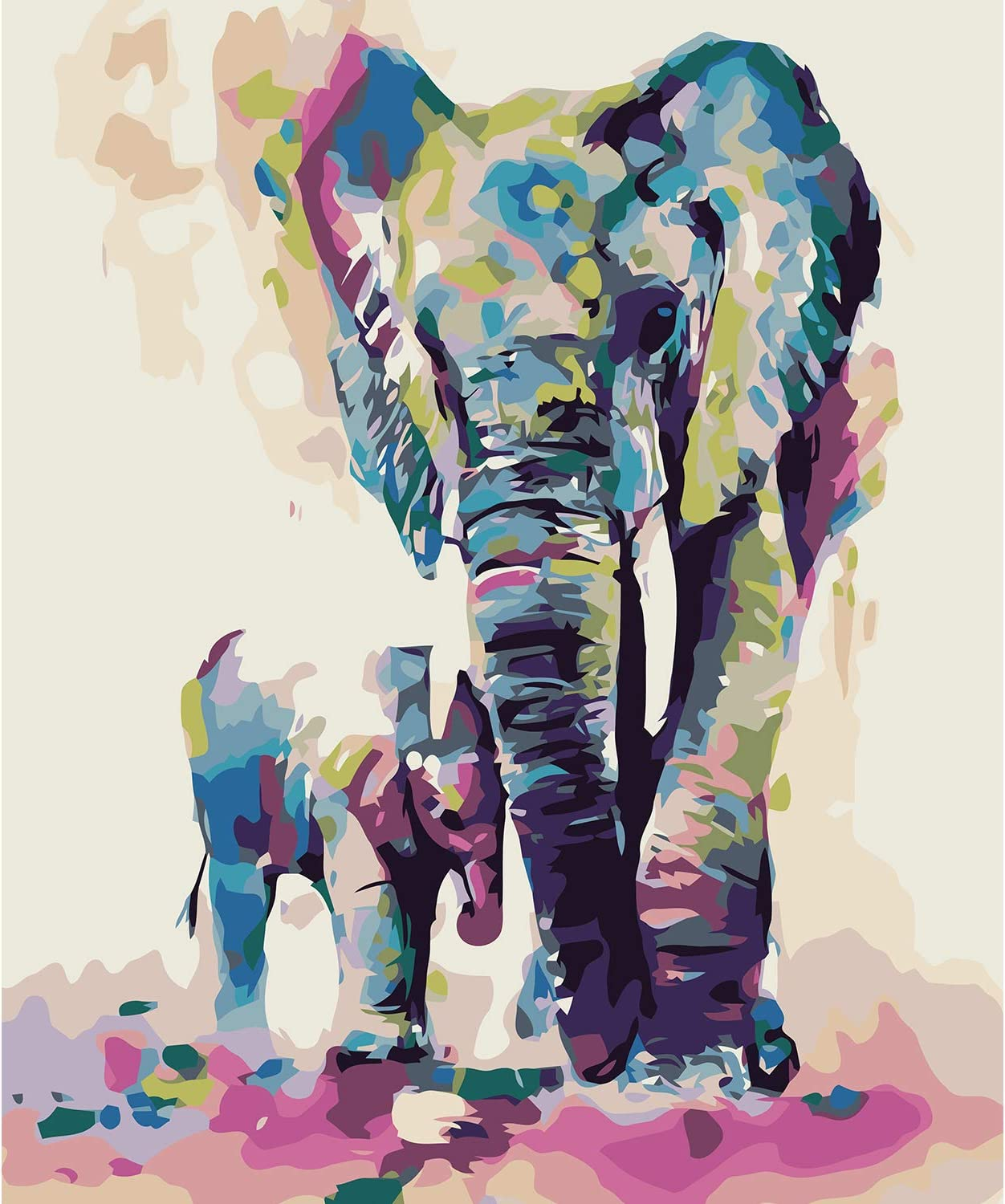 Elephant 16x20 Inches Paint by Numbers Kits for Adults Arfbear DIY Oil Painting