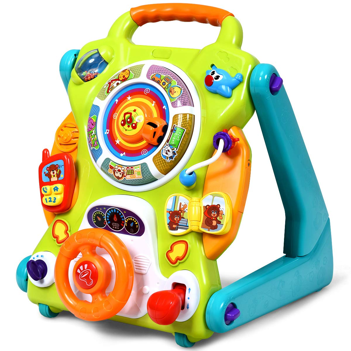 BABY JOY Sit-to-Stand Walker, 3 in 1 Baby Walker, Drawing Board, Entertainment Table, Kids Activity Center w/Lights, Music, Phone, Steering Wheel, Educational Push Toy for Toddlers (Blue)
