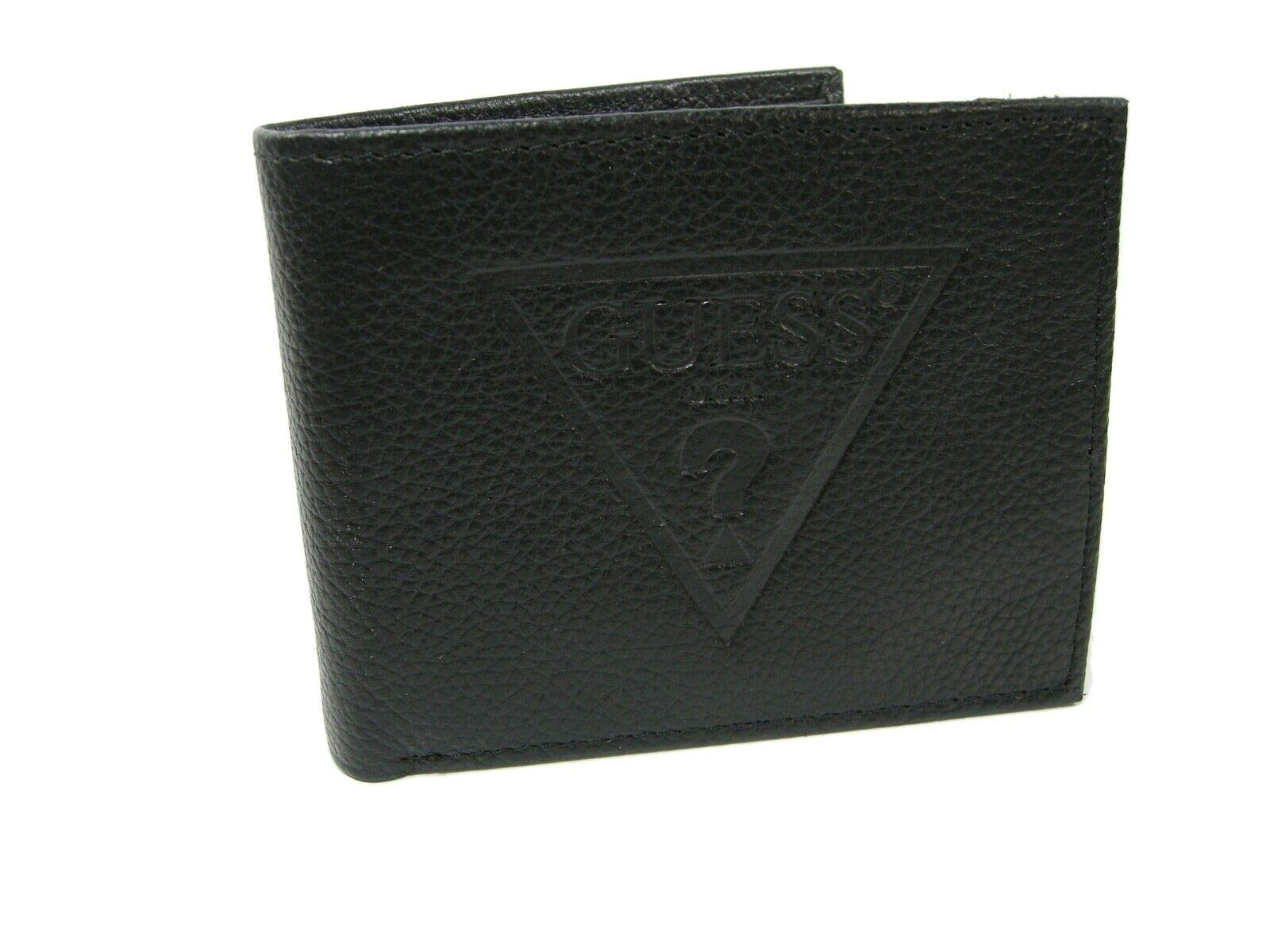 Guess Men's Leather Slim Bifold Wallet (Black ? Logo) by GUESS