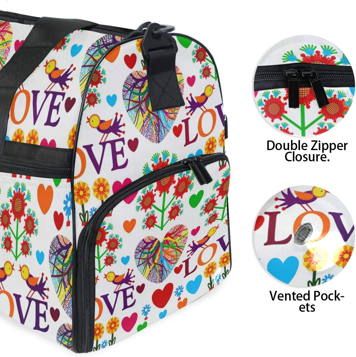 WIHVE Sports Gym Bag with Shoes Compartment Love Birds Flowers Travel Duffel Bag