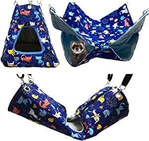 FULUE Ferret Rat Critter Nation Cage Accessories,Ferret Rat Hammock Set Hanging Bed Tent Tunnel for Any Small Animal Bedding