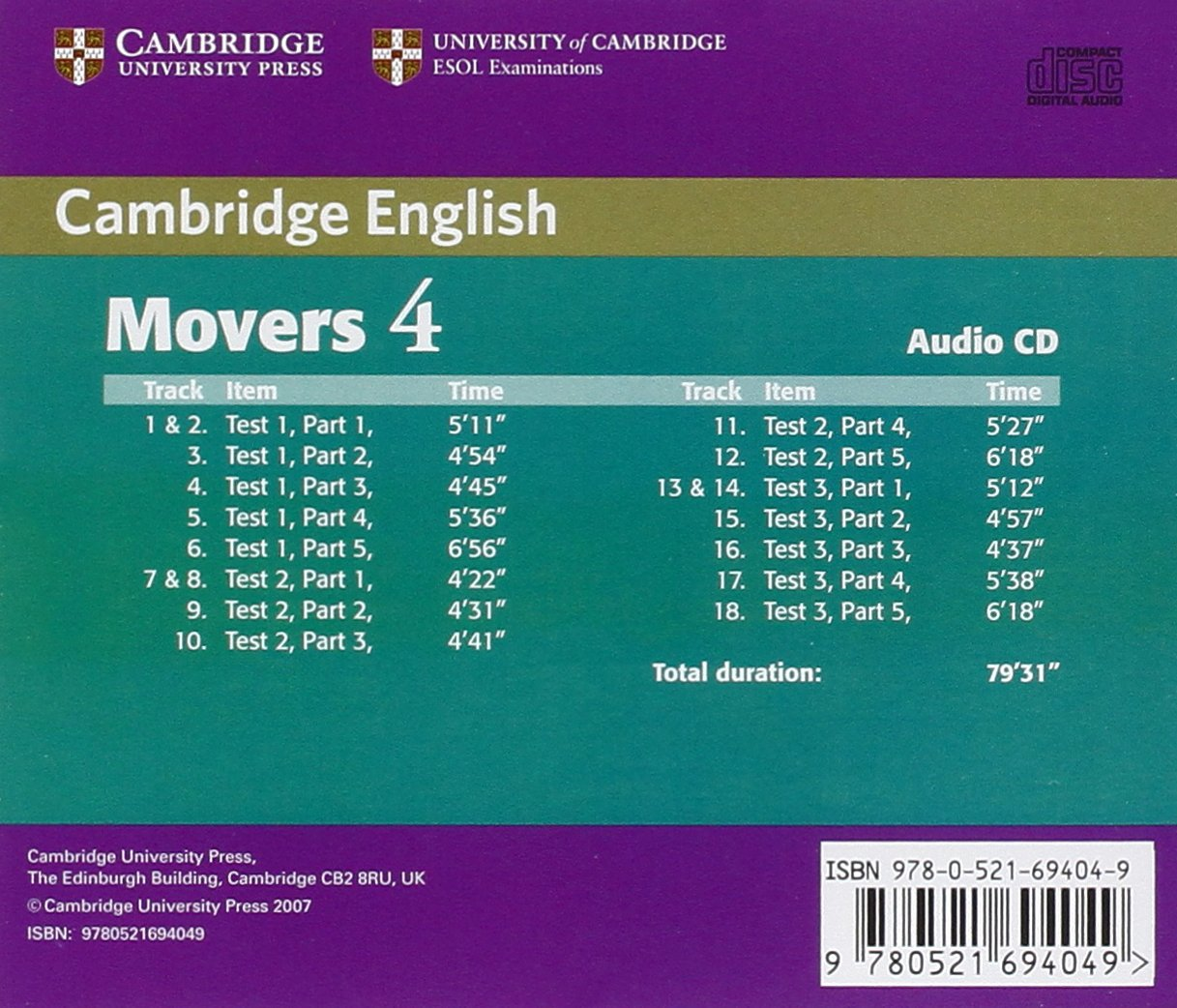 Cambridge Young Learners English Tests Movers 4 Audio CD: Examination Papers from the University of Cambridge ESOL Examinations by Brand: Cambridge University Press