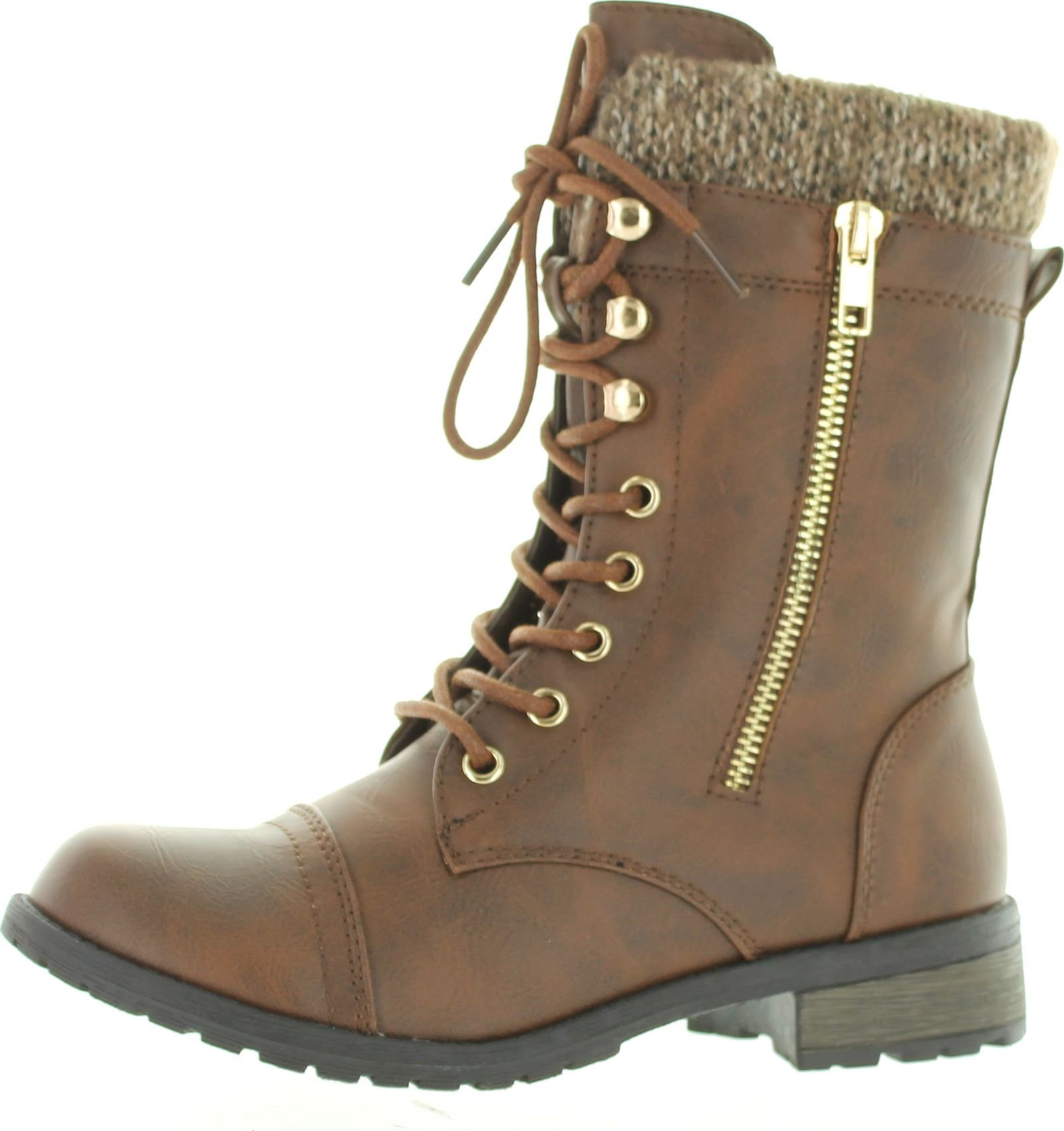 Forever Link Womens Mango-31 Round Toe Military Lace up Knit Ankle Cuff Low Heel Combat Boots Brown PU 8