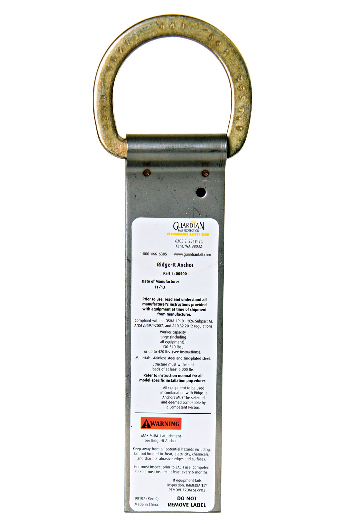 Guardian Fall Protection 00500 Ridge-It Roof Stainless Steel Safety Anchor, 5PK by Guardian Fall Protection