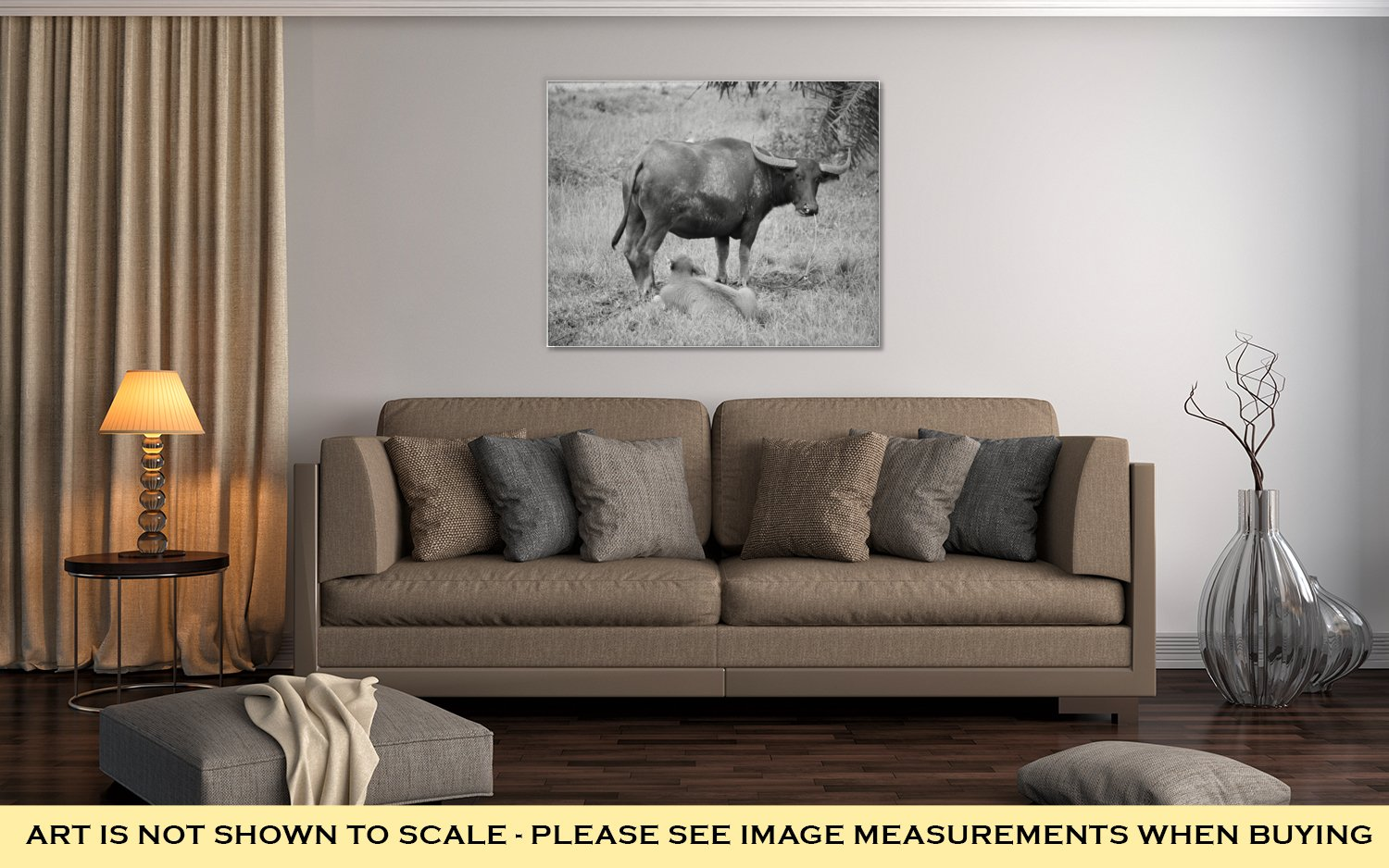 Ashley Canvas Thai Buffalo Walk Over The Field Go Back Home With Sunset Life Machine Of, Wall Art Home Decor, Ready to Hang, Black/White, 16x20, AG6343405