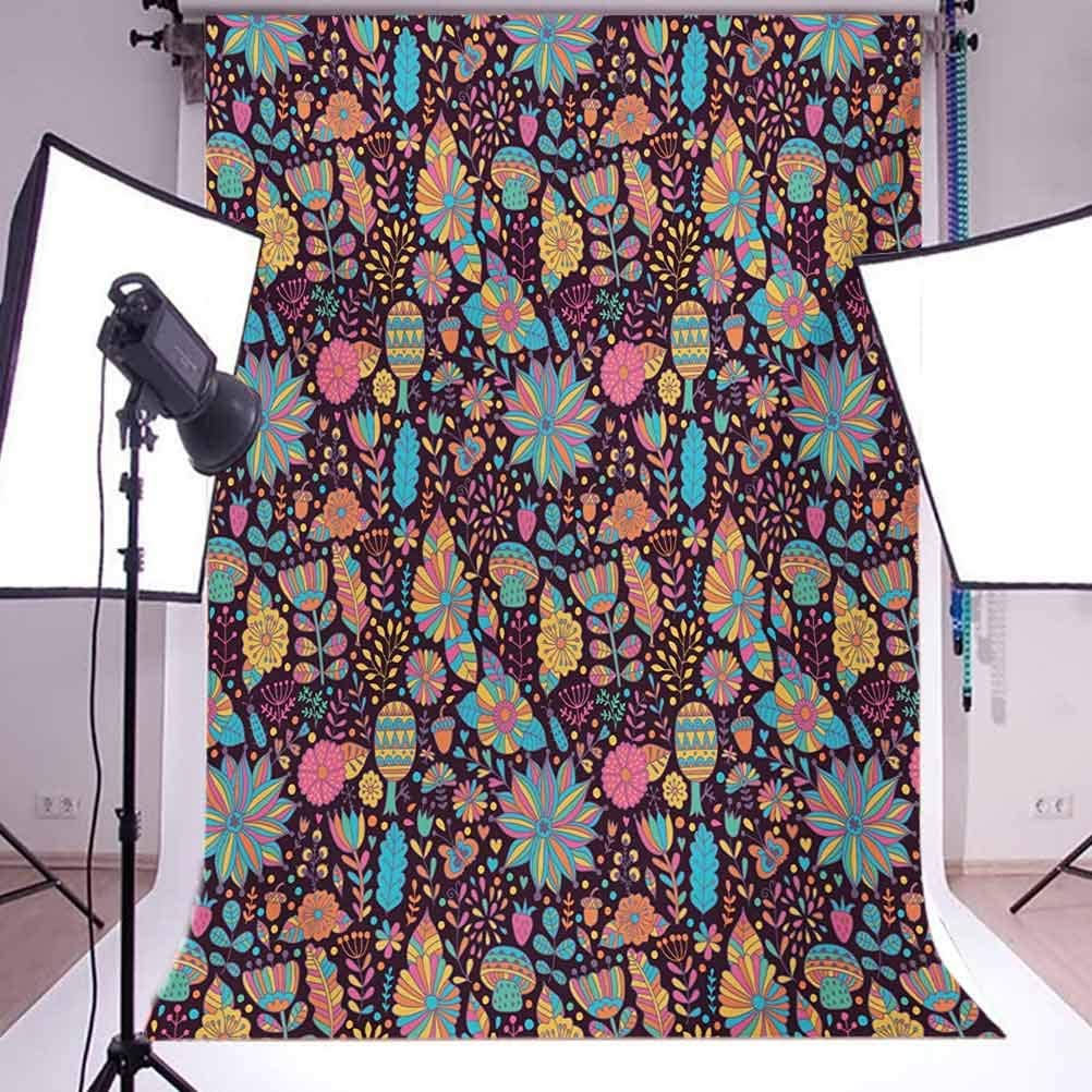 6.5x10 FT Photo Backdrops,Doodle Style Colorful Floral Design with Dark Toned with Scattered Dots Background for Kid Baby Boy Girl Artistic Portrait Photo Shoot Studio Props Video Drape Vinyl