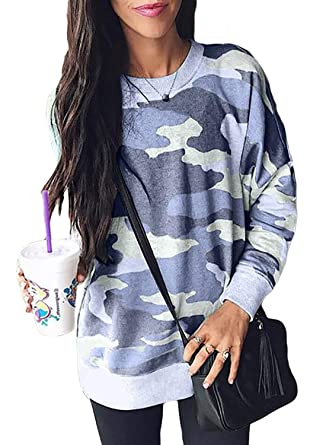 7c060b28a6047 Ecrocoo Women s Camouflage Pullover Sweatshirt Camo Blouse Casual Loose Fit  Shirt Tops Blue Small