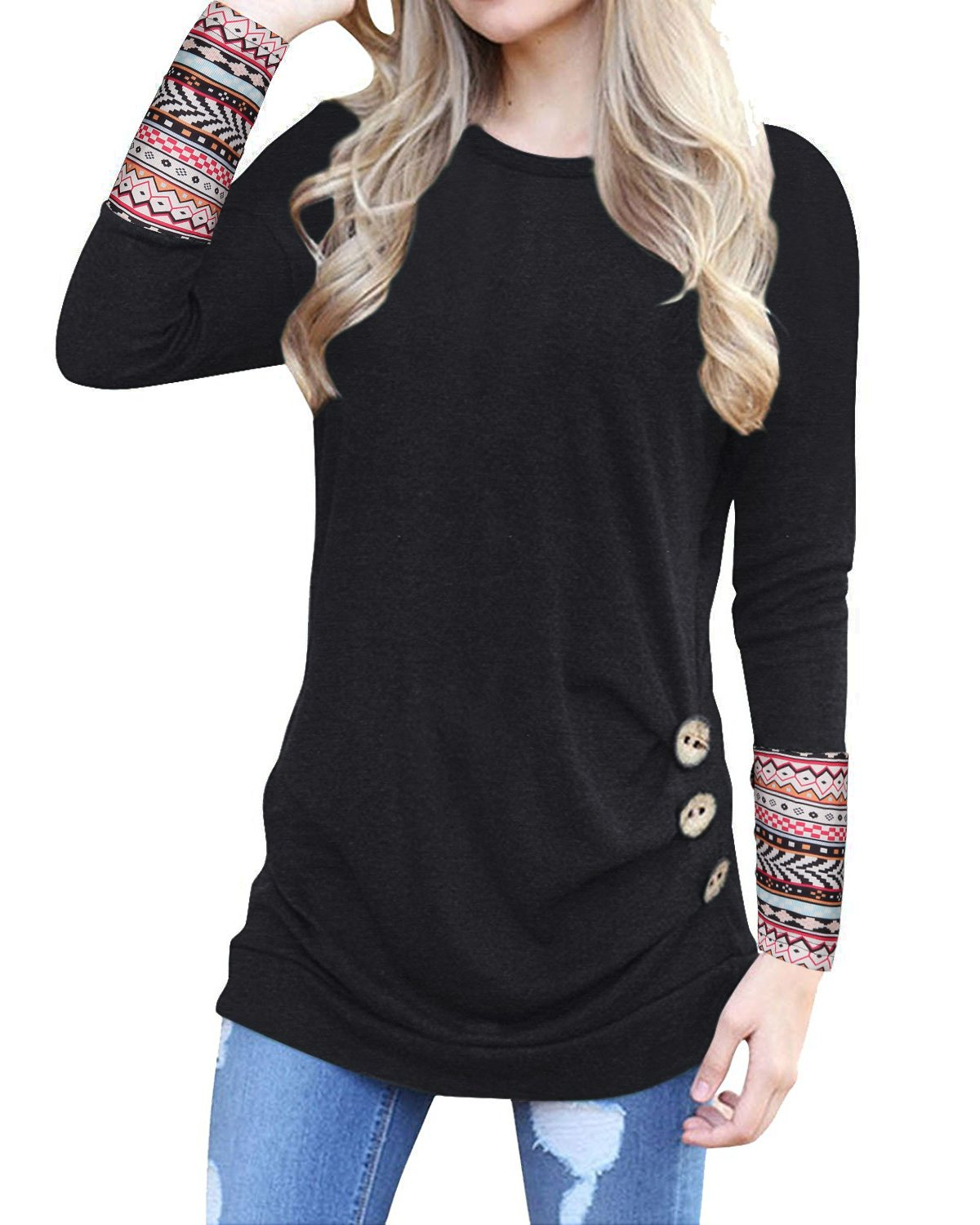 KILIG Long Sleeve Tunic for Women O-Neck Patchwork Casual Loose Blouse Button Side Tunic Tops(Black,L) by KILIG (Image #1)