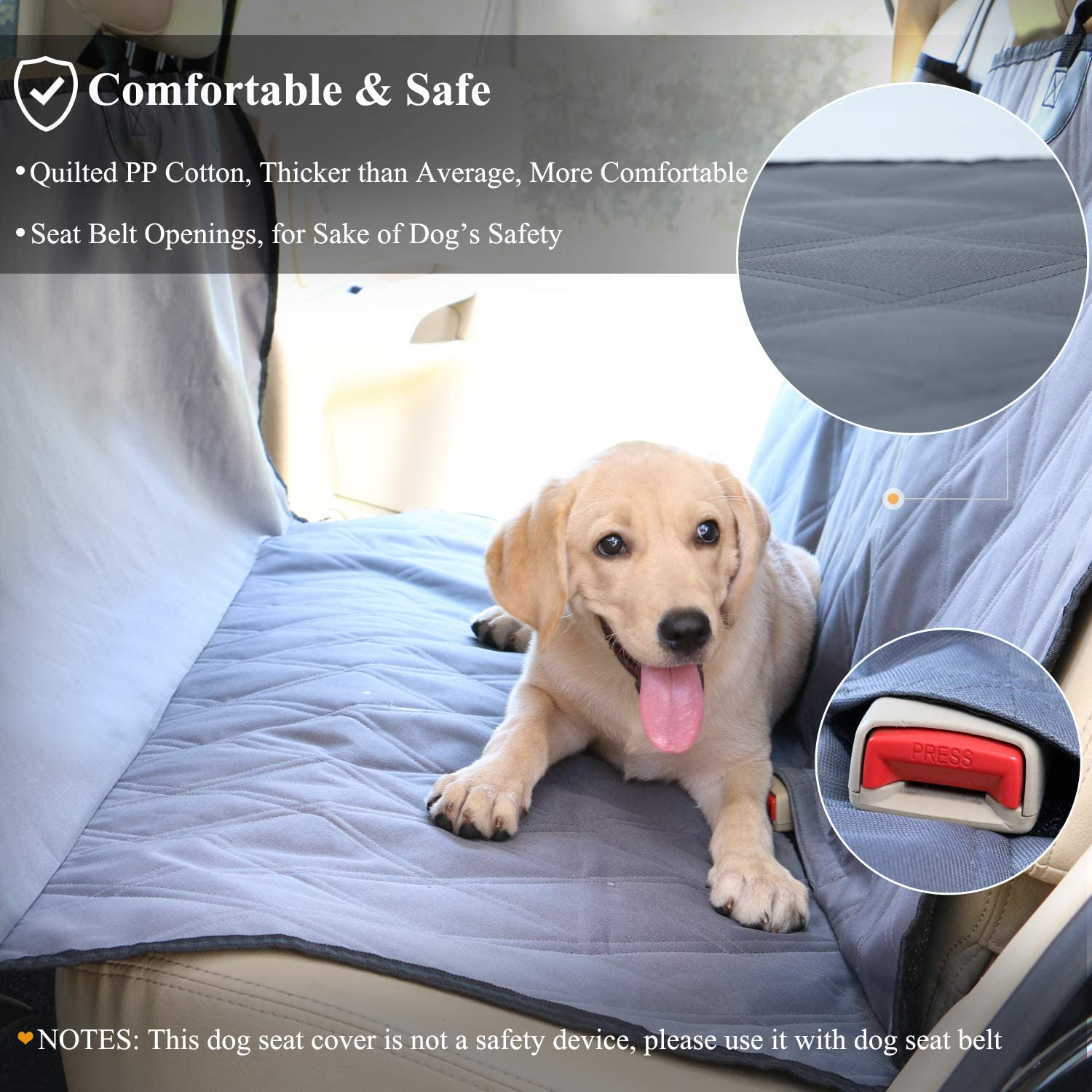 L Heather Khaki SUVs /& MPVs No-Skirt Design VIVAGLORY Dog Front Seat Covers Quilted /& Durable 600 Denier Oxford 4 Layers Dog Seat Cover with Anti-Slip Backing for Most Cars