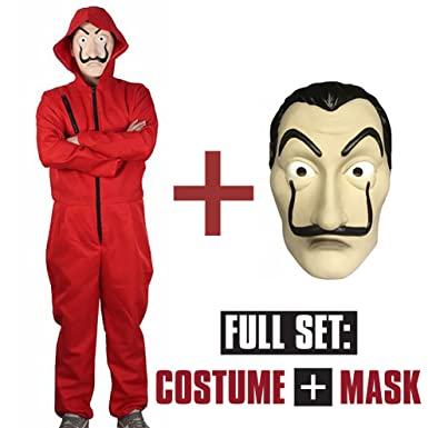 La Casa De Papel Red Jumpsuit Costume Cosplay with Mask Included (Medium)