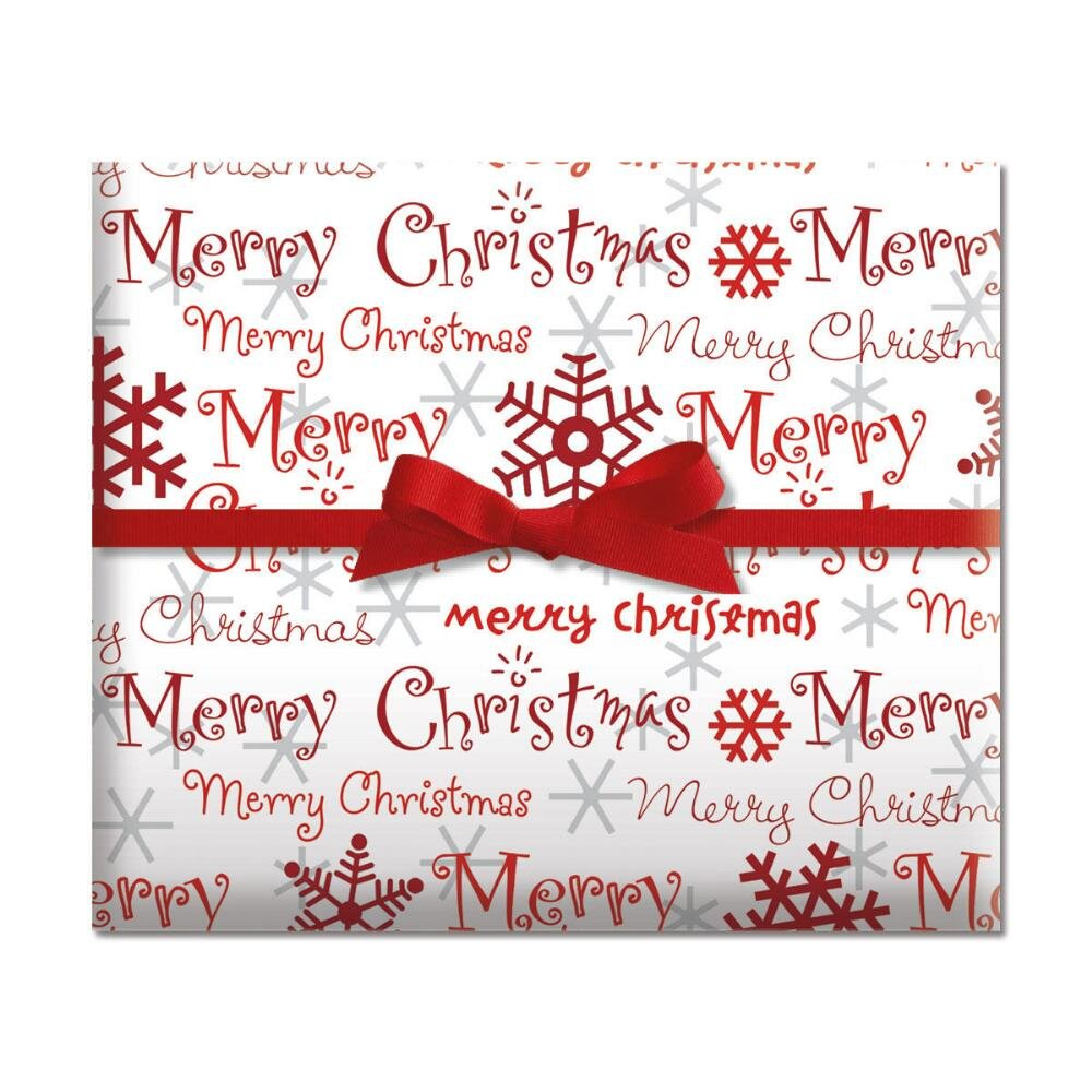 Amazon.com: Merry Christmas Script Jumbo Rolled Gift Wrap - 67 sq ...