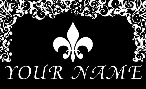 Toland Fleur de Lis LYS Floral Pattern Your Name Personalized Custom Standard Mat 18 x 30