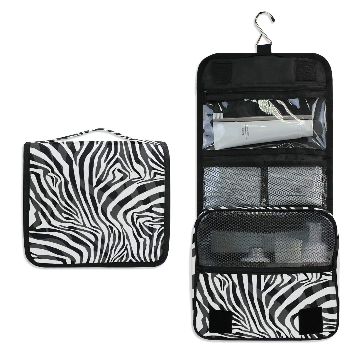 BEETTY Hanging Travel Toiletry Bag Zebra Print Portable Makeup Organizer Cosmetic Bag Toiletry Kit for Women & Man
