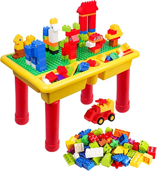 TUMAMA 150 Pcs Large Brick and Activity Table Sets Kids Toys Big Building Block Learning Table Stem Toy Sand and Water Table Activity Table Gifts Sets for Children 3 4 5 6 Years Old