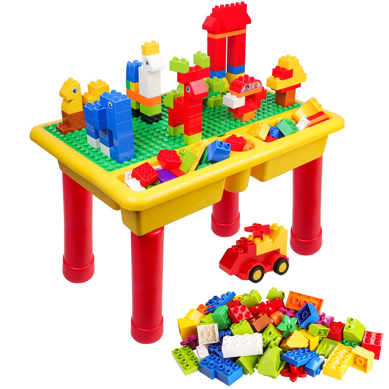 burgkidz Kids 2-in-1 Block Table with Baseplate Board and 68 Piece Large Building Blocks, Children Educational Toy Classic Big Building Bricks Desk, Primary Colors