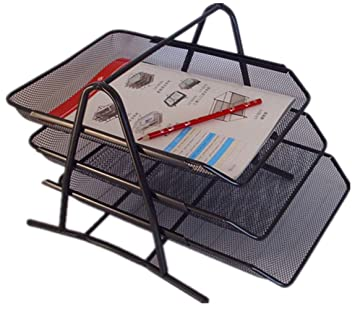 PAG 3-Grada malla bandeja, escritorio, organizador de la oficina 13,5 x 10,8 24,77 cm, negro: Amazon.es: Oficina y papelería