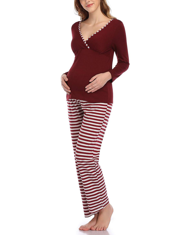 Aranmei Pijama de Lactancia Invierno Ropa Premam/á Embarazadas Manga Larga Conjunto de Pijama Algod/ón Mujer Maternidad Hospital Suave y Comodo