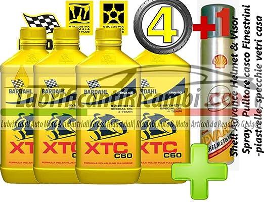 4 LT aceite motor 4t BARDAHL moto BARDHAL XTC C60 15W50 100% fibra hueca. Shell Advance Helmet & Spray-Limpiador Visor-casco ventanillas de coche-azulejos, ...