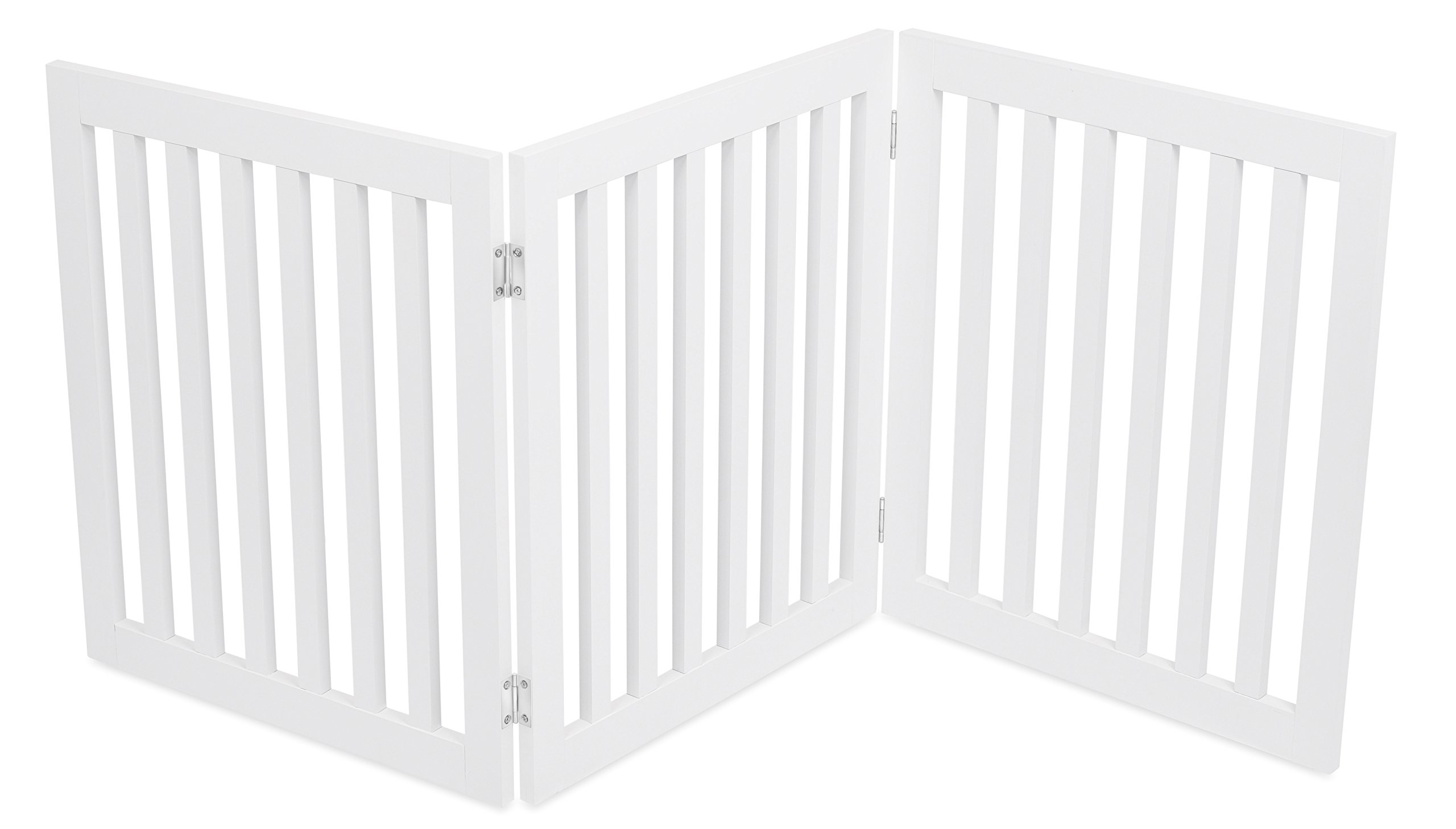 Internet's Best Traditional Pet Gate - 3 Panel - 24 Inch Step Over Fence - Free Standing Folding Z Shape Indoor Doorway Hall Stairs Dog Puppy Gate - White - MDF