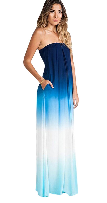 Haroty Damen Lang Kleider Bandeau Kleid Cocktailkleid Ombre ...