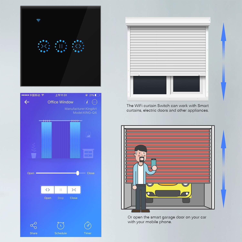 Noir Commutateur Smart Life Wifi volets roulants Commutateur Frontoppy wifi Interrupteur mural pour contr/ôle WIFI App ou contr/ôle vocal de ALEXA