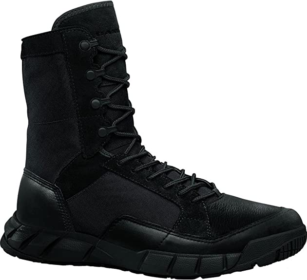 A photo of a men's long shaft tactical boot in black color with laces looped into the loops.