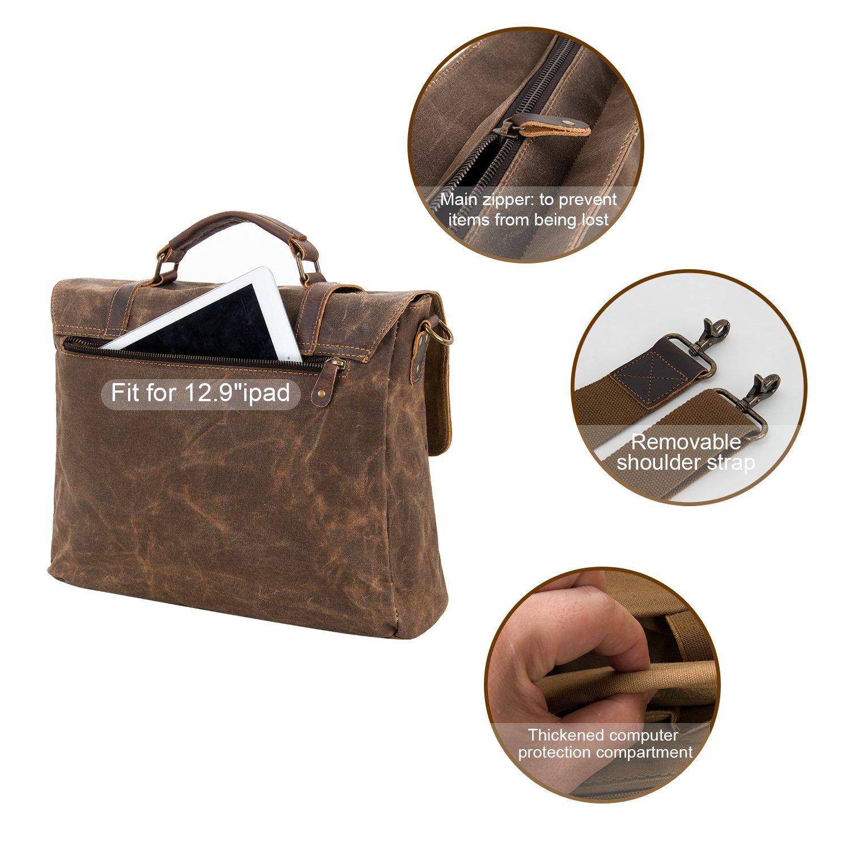 Kopack Waterproof Laptop Briefcase 15.6 inch Waxed Canvas Genuine Leather Laptop Bag Coffee by kopack (Image #4)