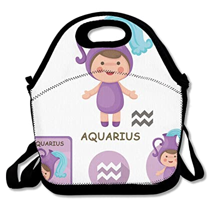 LPoxsmovw Neoprene Lunch Bag Aquarius Collection Zodiac Signs Lunch Tote  Bags Lunch Backpack Lunchbox Handbag with Adjustable Shoulder Strap for  Work
