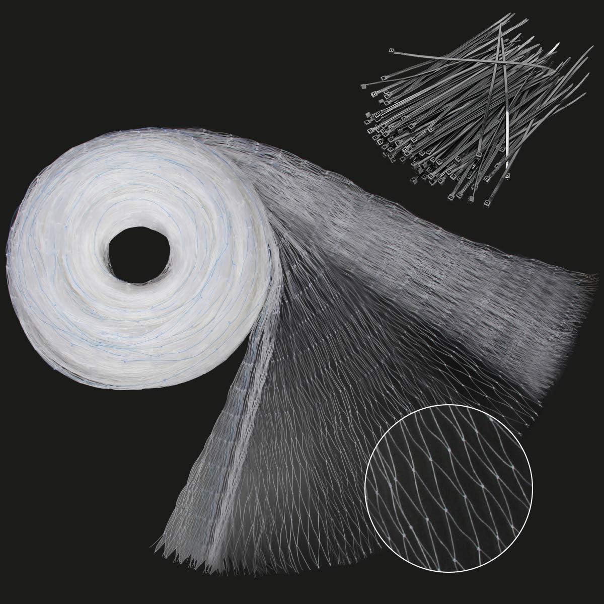 Zhichengbosi - Malla para pájaros (5 x 10,5 m, protección contra pájaros, Cubierta para estanques, Malla Cuadrada de 2,5 cm con 100 Bridas de Nailon)