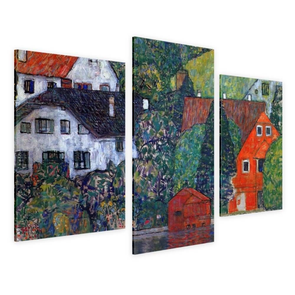 Alonline Art - Houses At Unterach by Gustav Klimt | framed stretched canvas on a ready to hang frame - 100% cotton - gallery wrapped | 36''x24'' - 91x61cm | 3 Panels split | Wall art home decor HD by Alonline Art