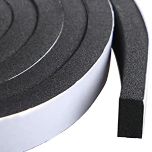 Door Insulation and Soundproofing Tape 3/4 Inch Wide X 3/8 Inch Thick, Foam Draft Gasket Tape 10mm Thick and Black, Total 13 Feet Long (2 Rolls of 6.5 Ft Long Each)