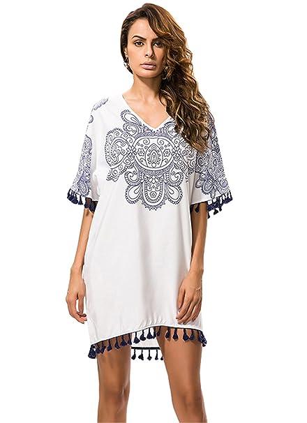 Haroty Vestidos Para Mujer v cuello Manga corta Borla Estilo étnico vestidos tallas grandes casual verano