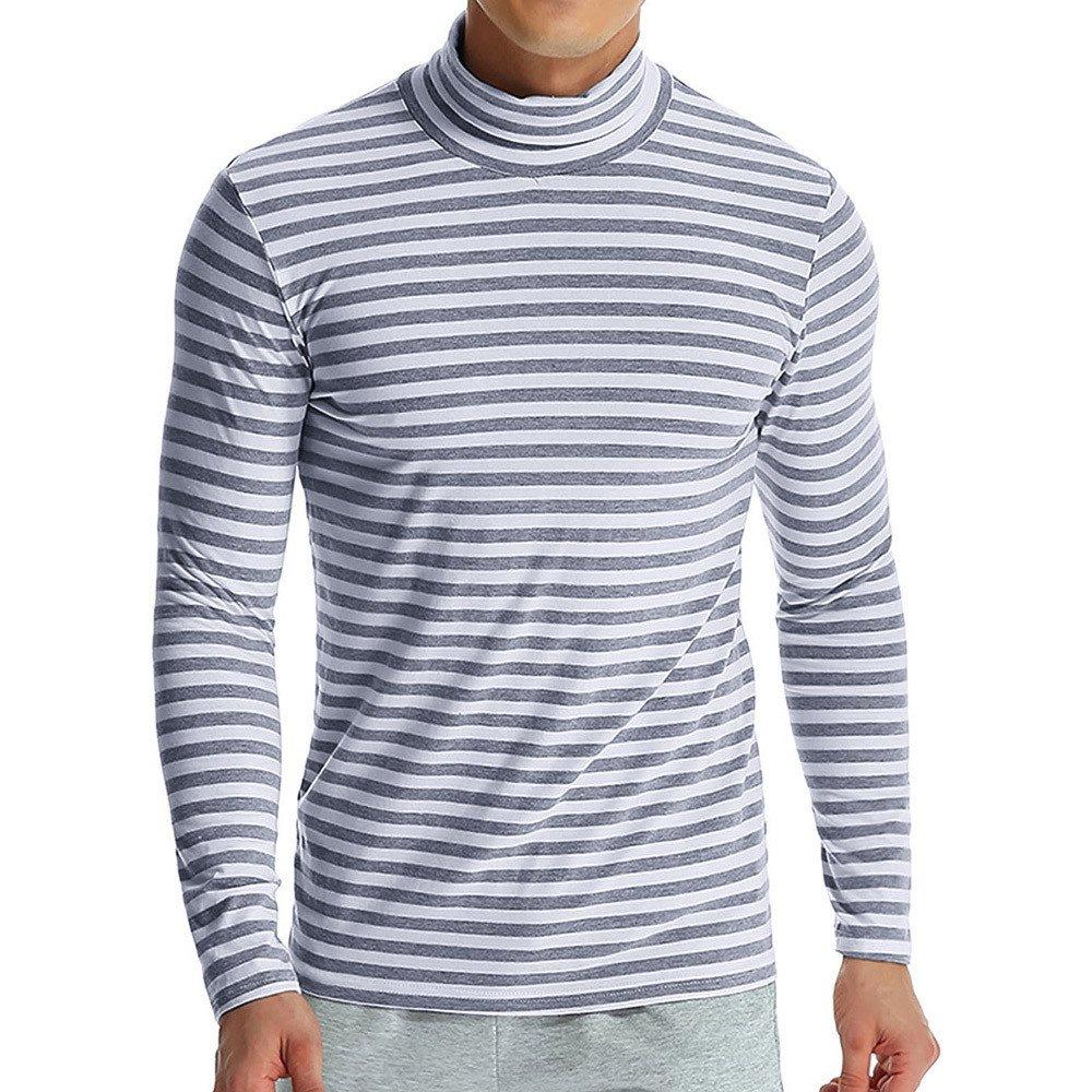 PASATO Classic Men's Autumn Winter Striped Turtleneck Long Sleeve T-shirt Top Blouse Clearance Sale(Gray, XXL=US:XL)