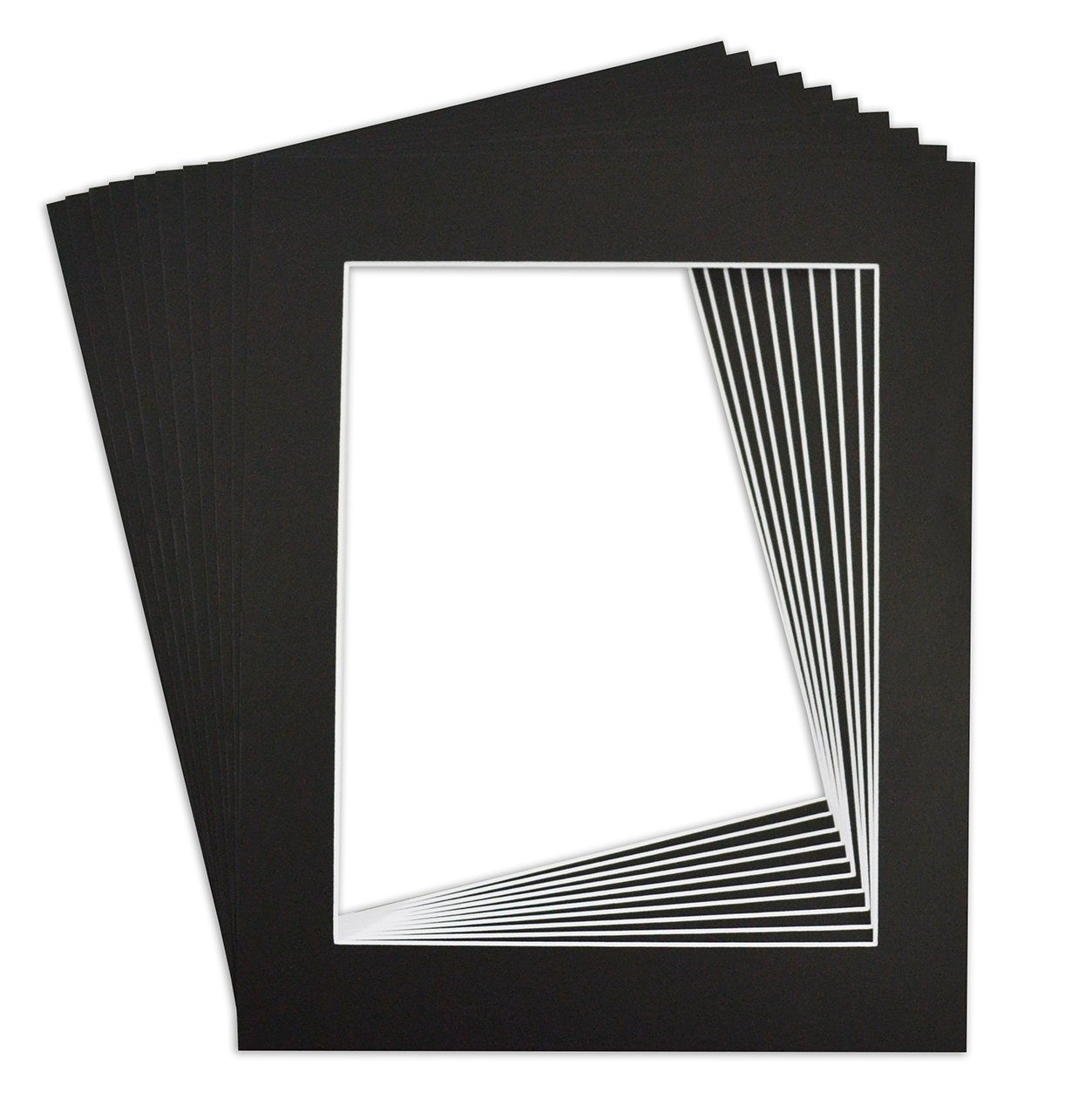 Golden State Art, Acid Free, Pack of 10 Black Pre-cut 11x14 Picture Mat for 8.5x11 Photo with White Core High Premier Bevel Cut Mattes