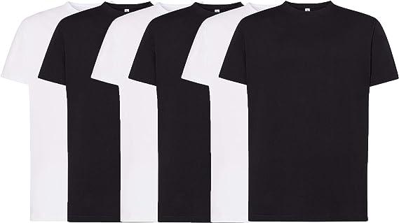 JHK - Pack de 6 Camisetas BÁSICAS Manga Corta Blanca/Negra, 100% Algodón. Doble Costura y Refuerzos - Camiseta Interior para Adulto y NIÑO así como Deportiva. Disponible en Tallas Extra Grandes: Amazon.es: