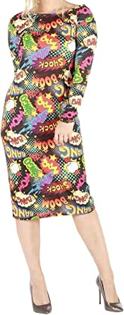 DIGITAL SPOT Womens New Bang Boom Shock Printed Midi Dress Ladies Long Sleeve Bodycon Dress