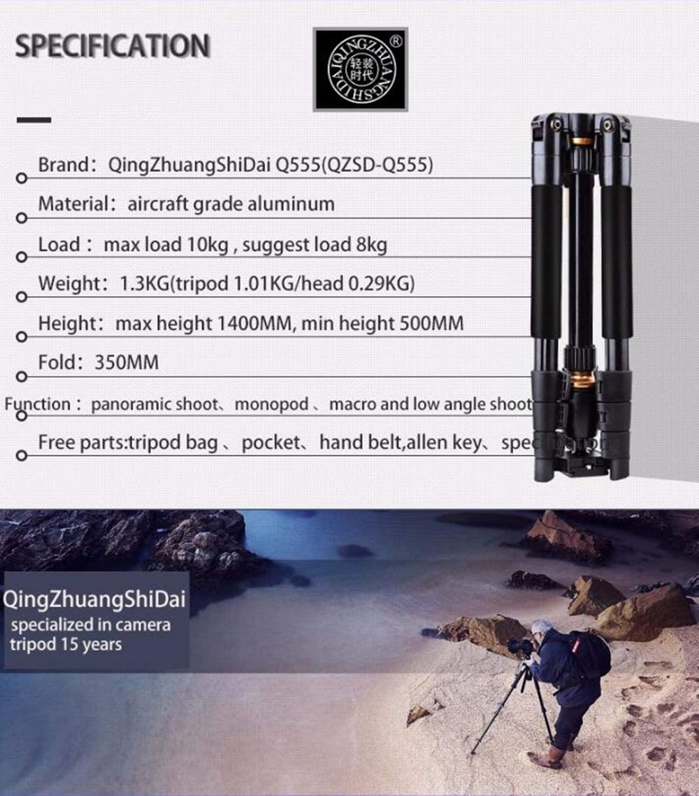 AFFC Professional Outdoor Tripod with 360 Degree Panoramic Ball Head Lightweight Aluminum Camera Tripod Carrying Bag