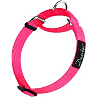 Dazzber Martingale Heavy Duty Nylon Dog Collar, (Small, 1.5cm Wide, Hot Pink)