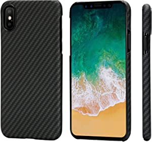 "PITAKA Magnetic Slim Case Compatible with iPhone X 5.8"", MagEZ Case Aramid Fiber [Real Body Armor Material] Phone Case,Minimalist Strongest Durable Snugly Fit Snap-on Case - Black/Grey(Twill)"