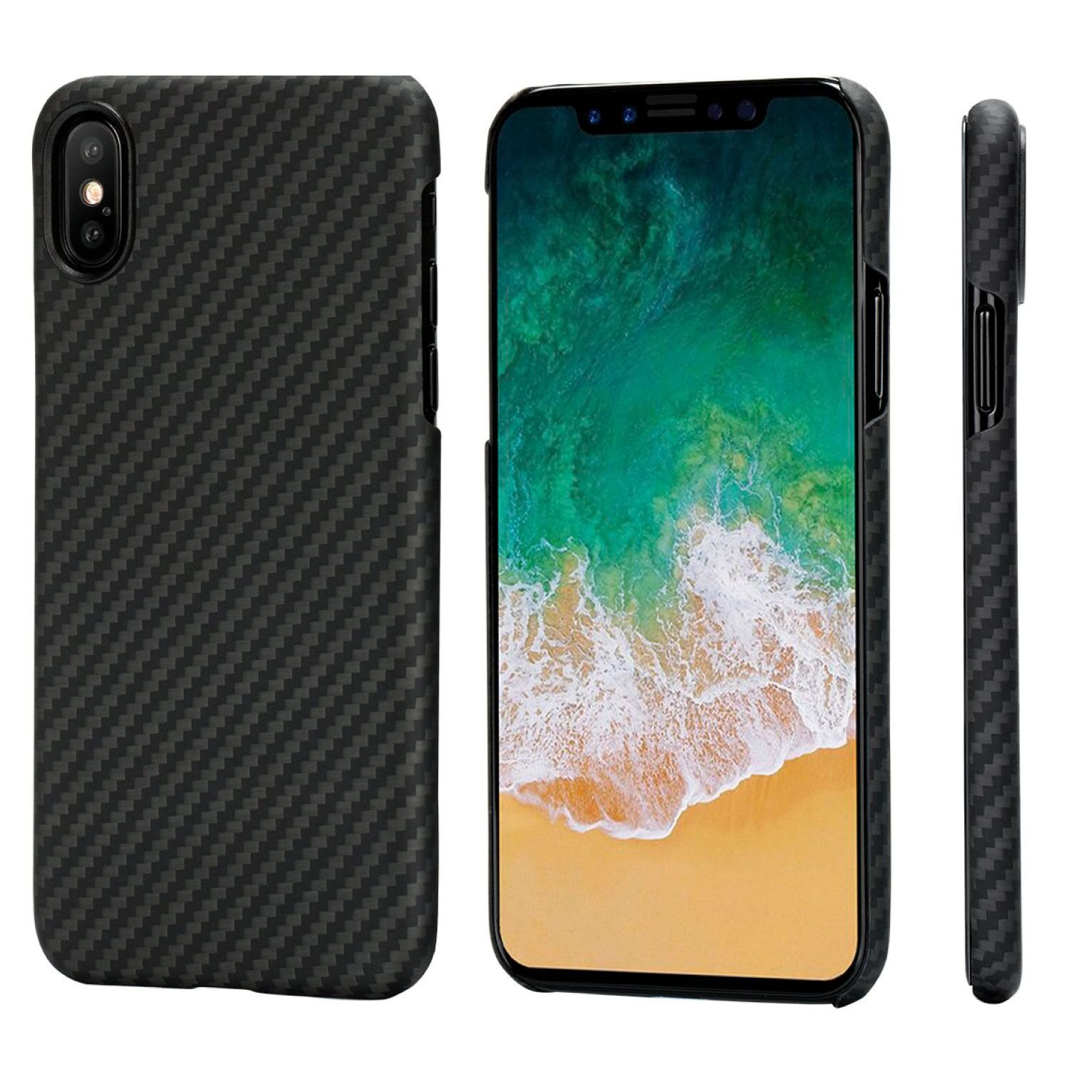 PITAKA Slim Case Compatible with iPhone X 5.8'', MagCase Aramid Fiber [Real Body Armor Material] Phone Case,Minimalist Strongest Durable Snugly Fit Snap-on Case - Black/Grey(Twill)