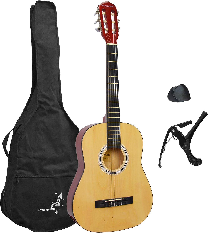 Rocket XF201CN XF Serie - Guitarra española clásica, color natural, tamaño 3/4
