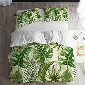 ARL HOME Tropical Bedding Rainforest Green Botanical 3pc King Size Duvet Cover Palm Leaves Summer Plant Dark Color Quilt Covers Green Comforter Cover (2 Pillow Cases) Jungle Leaf Duvet