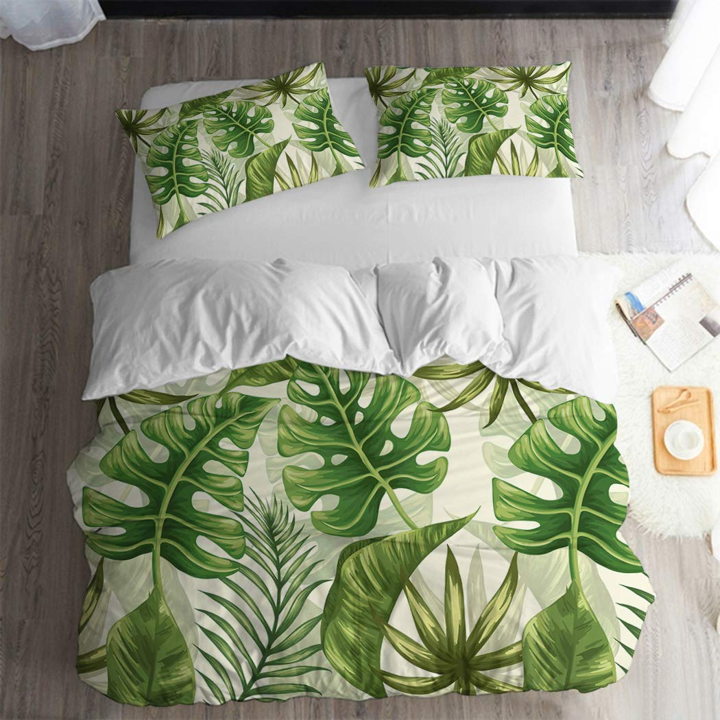 ARL HOME Tropical Bedding Rainforest Green Botanical 2pc Twin Size Duvet Cover Palm Leaves Summer Plant Dark Color Quilt Covers Green Comforter Cover (1 Pillow Cases) Jungle Leaf Duvet