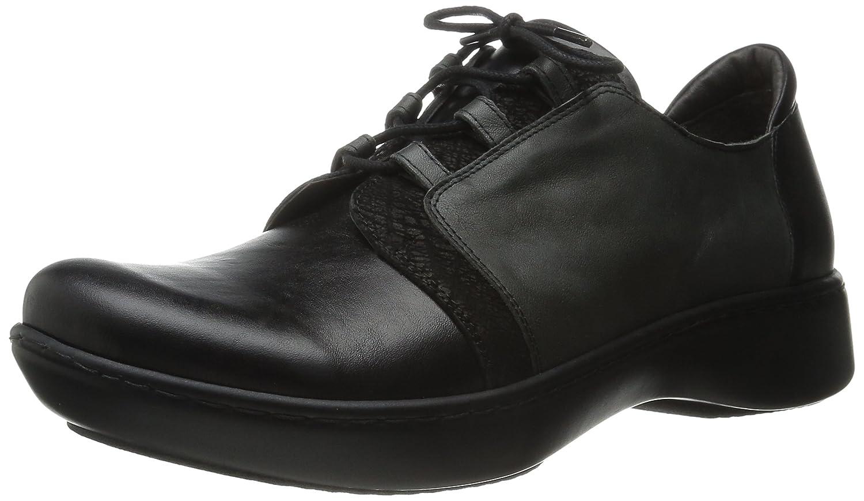 NAOT Women's Riviera Flat B00TQAO272 37 EU/6-6.5 M US Black Madras Leather/Black Crackle Leather/Tin Gray Leather/Black Raven Leather