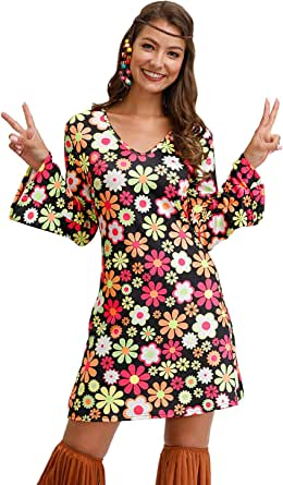 For G and PL Women's Floral 1960's 1970's Hippie Costume Dress