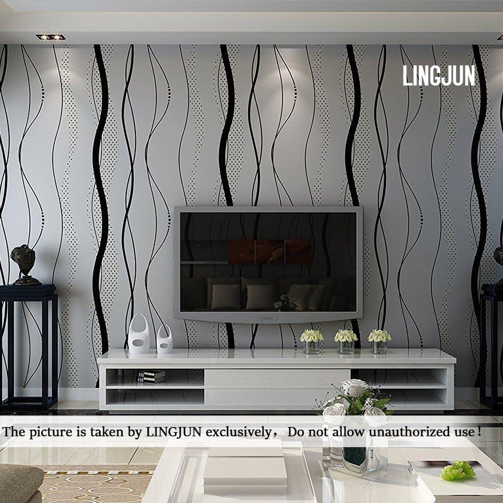 Argent/é 10 m/ètres 3D Papier Peint Moderne Minimaliste Non Tiss/é Flocage pour D/écoration Mur Maison Boutique Chambre Salon