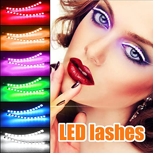 LED Lashes Light Eyelash Interactive Eyelashes Lamp, Shining Charming for Party, Bar, NightClub, Concerts, Birthday, Halloween Ornament; Fun LED Eyelashes Turn Your Face into a Rave Party (Orange)