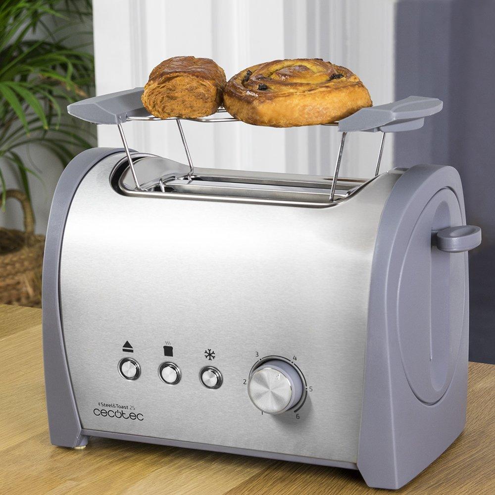 Cecotec Tostadora de Pan Steel&Toast 2S Capacidad para 2, Soporte para panecillos, 800 W de Potencia, 6 Posiciones de Tostado, Función recalentar y ...