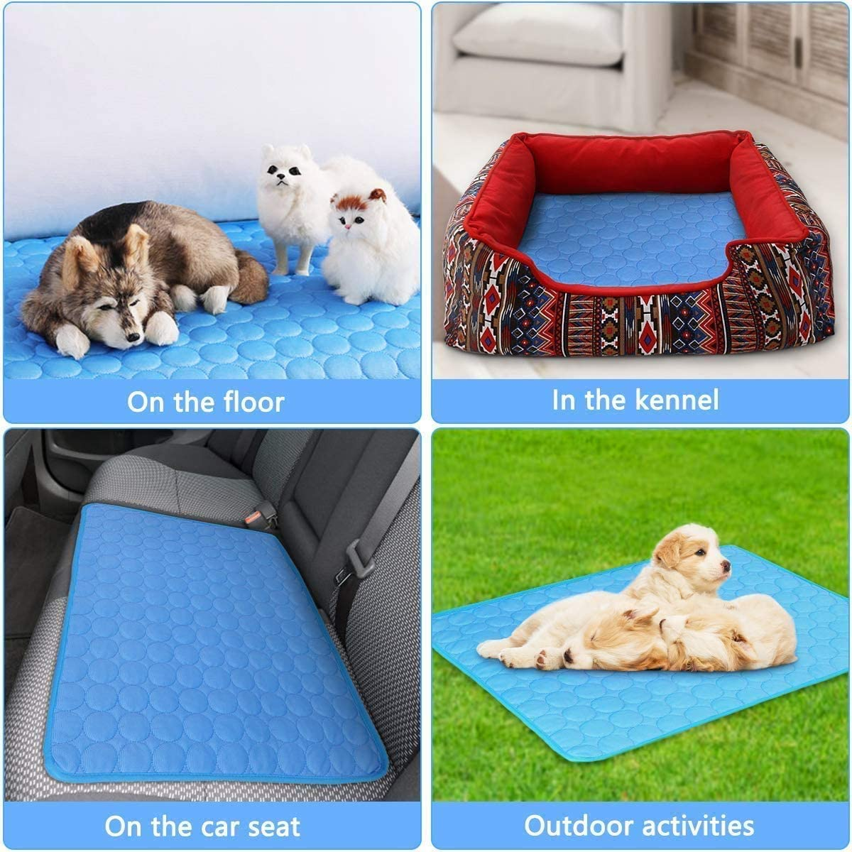 JNNELSN Pressure Activated Comfort Cooling Gel Pet Pad Mat, for Medium Pets, Keep Your pet Cool, and Reduce Joint Pain. Year Round use,39.527.5inches