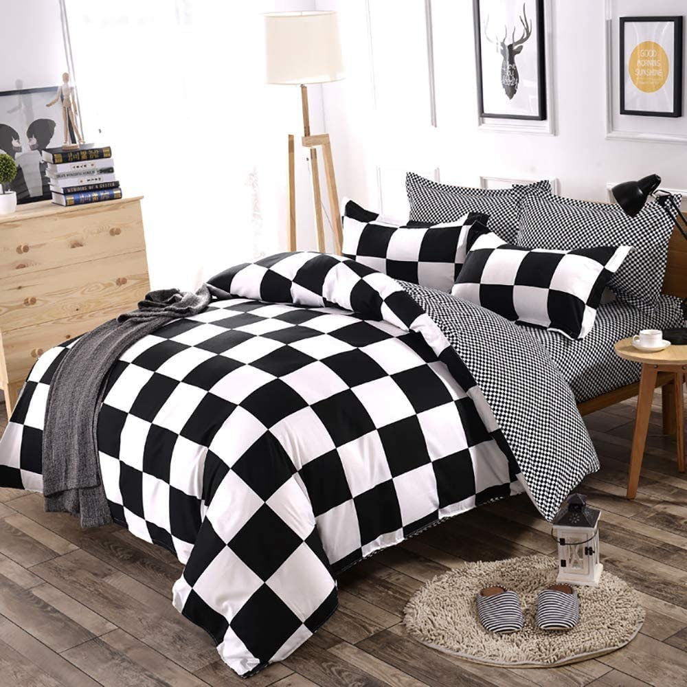 Fan Duvet Cover Set Twin Black and White Grid Checkered Plaid Pattern Boys Bedding Sets Reversible Modern Microfiber Comforter Cover and 1 Pillow Sham